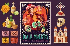 I'm loving these Day of the Dead Poster and Elements by Moonery on Creative Market. Only $6! Thinking I might need to make up a project so I can use them.