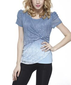 Another great find on #zulily! Blue Lace Ombré Layered Top #zulilyfinds