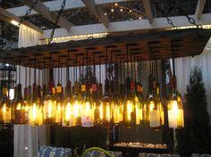Distinctive Chandeliers Featured at Architectural Digest Home Design Show Wine Barrel Chandelier, Wine Bottle Chandelier, Bubble Chandelier, Patio Lighting, Cool Lighting, Lighting Design, Lighted Wine Bottles, Bottle Lights, Empty Bottles
