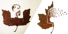 Hand cut leaf artwork | Omid Asadi | http://omidasadi.artweb.com/