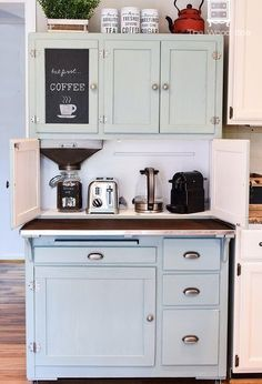 This is how I turned this old, beat-up Hoosier Cabinet into a Coffee Bar for my kitchen. I always wanted to have a coffee bar in my kitchen. This old, beat-up Hoosier Cabinet I found on… Diy Coffee, Diy Coffee Bar, Coffee Bar, Kitchen Decor, Coffee Bar Home, Bars For Home, Hoosier Cabinet, Hoosier Cabinets, Coffee Cabinet