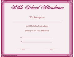 this printable certificate bordered in purple recognizes dedicated attendance at bible school free