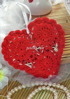 Красное ажурное сердечко