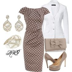 Polka dot so classic with the jacket it appears to be a suit for the office..for evening pull the jacket off form fitting dress..Jazz up the jewelry and put on some canary yellow stilletos and you are ready - womens trendy clothing, young womens clothing, plus size womens clothing stores