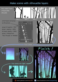 "drawingden: "" make scene with silhouette layers by "" Digital Painting Tutorials, Digital Art Tutorial, Art Tutorials, Autodesk Sketchbook Tutorial, Digital Art Beginner, Coloring Tutorial, Concept Art Tutorial, Ipad Art, Art Graphique"