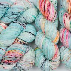 "(Sock) - long dog yarnIgel fiber sock ""Freak Show"" (DELUXE MERINO) - You knit I Dye""Freak Show"" hand-dyed yarn merino sock fingering weight pink purple turquoise stains colorfulPop! Thread Crochet, Crochet Yarn, Knitting Yarn, Knitting Stitches, Crochet Crafts, Grandma Crafts, Hedgehog Fibres, Yarn Inspiration, Yarn Stash"