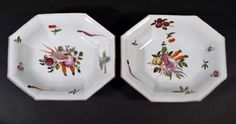 A Pair of Chelsea Porcelain Dishes decorated with Vegetables, Circa 1758--60