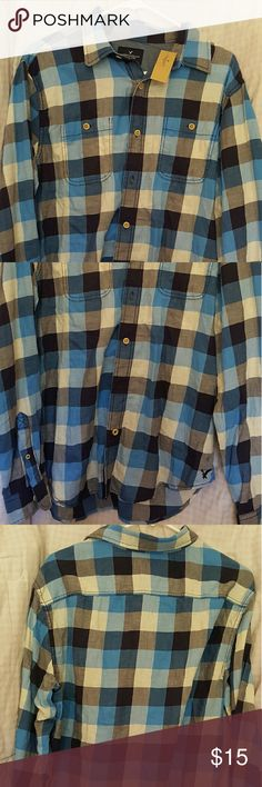 New Men'S American Eagle Shirt -New shirt -Never worn -Size: L -Looks Blue with black,grey, and blue pattern -For Men American Eagle Outfitters Shirts Casual Button Down Shirts