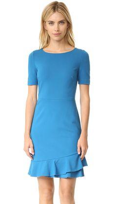 Diane von Furstenberg Women's Serafina Dress, Peacock, 2. Ponte jersey. 71% viscose/24% polyamide/5% elastane. Dry clean. Width 35.5in / 90cm, from shoulder.