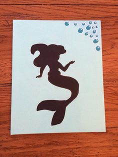 Hand Painted Disney Princess Ariel Silhouette by ThePrettyPicture, $15.00