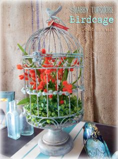 So pretty! Floral Birdcage via http://deniseonawhim.blogspot.com