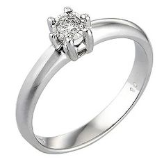 H.Samuel   9ct White Gold 1/10 Carat Diamond Solitaire Ring - Product number 3538451  Brilliant  £275