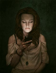 """Nadeen by Dan Witz. 2010. 26 x 20"""". oil and mixed media on canvas"""
