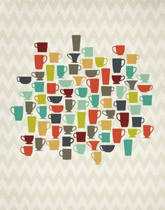 Retro Kitchen Coffee Cups 11x14 Art Print by ProjectType on Etsy, $23.00