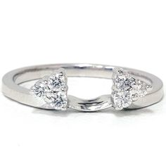 Diamond Ring .22CT Enhancer Guard Band 14K White Gold Wedding Anniversary Engagement | Pompeii3 - Jewelry on ArtFire