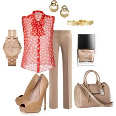 Love the khaki with a flowing shirt combo but I wouldn't do the heels and knock off the watch and polish ... Its a little much