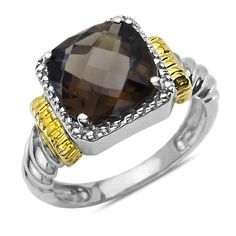 Silver and Gold Fashion Ring with Smokey Quartz Nissoni J...…