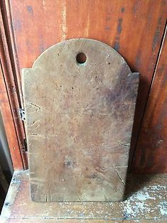 Early antique wooden treen cutting dough board patina AAFA Tombstone Top