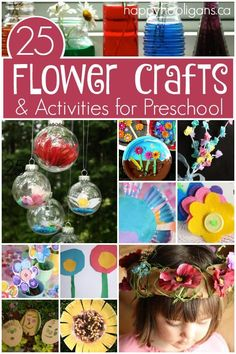 25 Flower Crafts and Activities for Preschoolers and Toddlers - easy, inexpensive crafts using real and artificial flowers. Great for your spring craft themes in preschool, homeschool or daycare.  Using flowers in engaging, fun activities that keep young children busy and learning.  - Happy Hooligans
