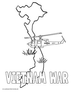 World History Coloring Pages Printables Vietnam War helicopter