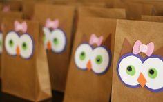 Bolsas de regalo monísimas, para una fiesta buho! / Really cute gift bags for an owl party