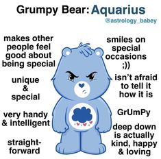 It's so funny because this is also my favorite Care Bear 🤣🤣🤣 Aquarius Funny, Aquarius Traits, Astrology Aquarius, Aquarius Love, Aquarius Quotes, Zodiac Sign Traits, Aquarius Woman, Age Of Aquarius, Zodiac Signs Astrology