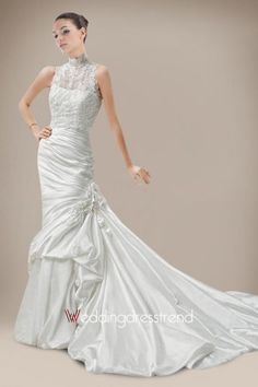 Beautiful Vintage Floor-Length Flowered Pick-up Wedding Dress - Shop Online for Cheap Wedding Dresses