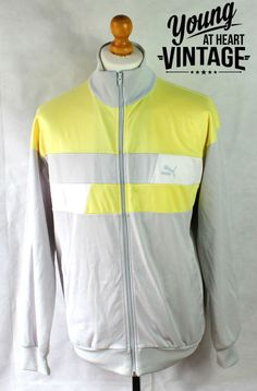 Vintage 90s Puma Tracksuit Jacket Retro Mens Size Medium 38-40 Yellow Silver