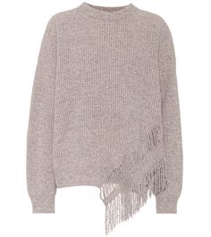 Taupe cashmere and wool sweater