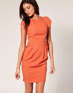 ASOS Tailored Short Sleeve Tab Front Tulip Skirt Dress