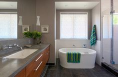 weimaraner by Benjamin Moore contemporary bathroom by Hoi Ning Wong