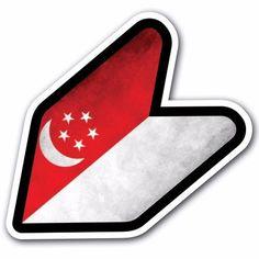 Grunge Singapore - JDM Wakaba Leaf Flag Decal Sticker Car Macbook Shoshinsha BMW #CUSTOMI