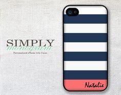 iphone 4 case - plastic or silicone rubber - nautical striped name monogram. $16.99, via Etsy.