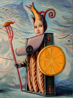 THE WARRIOR FISH - mixed media painting.2016