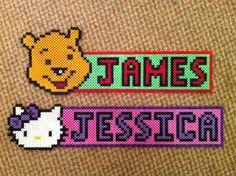 'James' Winnie the Pooh and 'Jessica' Hello Kitty hama bead name tags.