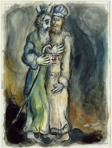 God sends Aaron to meet Moses in the desert - (Marc Chagall)