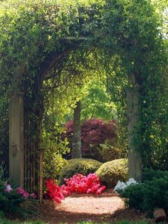 Create A Backyard Secret Garden Design Ideas, Pictures, Remodel and Decor - love that round landing pad like shape of the pathway entrance there