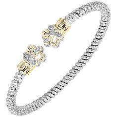 Sterling silver and 14 karat yellow gold Diamond cuff bracelet Bracelets, Bangles, Diamond Exchange, Custom Jewelry Design, Stone Jewelry, Engagement Rings, Jewels, Sterling Silver, Yellow