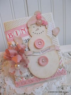 Would be very cute on a scrapbook page-shabby chic Pink Winter Snowman Noel Christmas, Pink Christmas, Handmade Christmas, Christmas Crafts, Christmas Paper, Christmas Greetings, Christmas Ornament, Ornaments, Shabby Chic Cards
