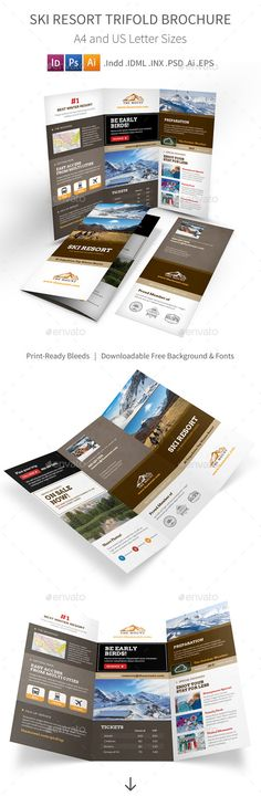 Ski Resort Trifold Brochure Template #design Download: http://graphicriver.net/item/ski-resort-trifold-brochure/12689940?ref=ksioks