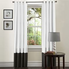 Lush Decor Black and White Prima 84-Inch Curtain Panels (Set of 2) | Overstock™ Shopping - Great Deals on Lush Decor Curtains