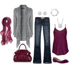 """Fall Outfit"" by masilly1 on Polyvore cute except the ugly purse and ugly shoes"