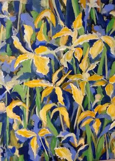 Yellow Irises Acrylic on Canvas artwork by Artist Sharon Wood For Sale swoody@internode.on.net