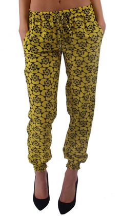 Black & Yellow Floral Harem Pants Like and Repin.  Noelito Flow instagram http://www.instagram.com/noelitoflow