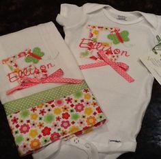 Burp cloth and matching onesie $35 Order: bethbier@aol.com facebook.com/SpecialJEMsbyBeth
