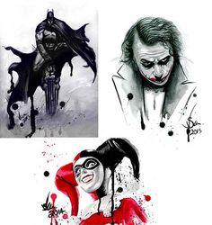 Batman collection 3 prints A4 including Harley by YuffieesCorner #art #drawings #batman #harleyquinn #joker #gotham