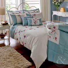 CATHERINE LANSFIELD o cama de matrimonio de funda de edredón - Juego de cama crema azul bordado colcha para cama individual: Amazon.es: Bebé