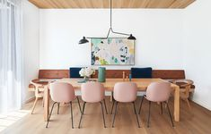 Glosswood is Australia's Leader in Prefinished Timber Lining Boards & Acoustic Panels. Perfect for use in both commercial and residential applications. Dining Room Colors, Dining Room Design, Dining Rooms, Australian Architecture, Australian Homes, The Design Files, Design Blog, Timber Ceiling, Hm Home
