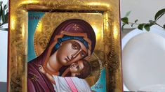 hand painted icon crafted in canvas on wood with the traditional method of the Byzantine hagiography with polished gold background. Paint Icon, Gold Background, Religious Icons, Art Store, Virgin Mary, Byzantine, Christianity, The 100, Carving