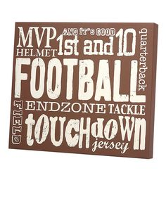 Take a look at this Brown 'Football' Wall Art by Twelve Timbers on #zulily today!